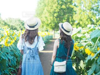 青いドレスを着た女性の写真・画像素材[4636914]