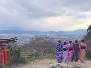 京都,後ろ姿,伏見稲荷神社,人物,背中,着物,人,後姿,旅行