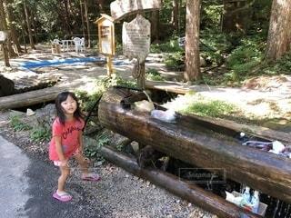 木の隣に立っている小さな女の子の写真・画像素材[2227906]