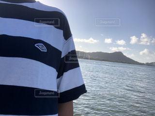 風景,海,空,屋外,ボーダー,水面,人物,ブルー,ハワイ,ダイアモンドヘッド,フォトジェニック,Tシャツ,半袖