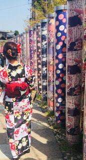 京都,綺麗,着物,旅行,旅,嵐山,通り,後ろ姿フォト