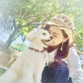 犬を抱いている人の写真・画像素材[2700183]