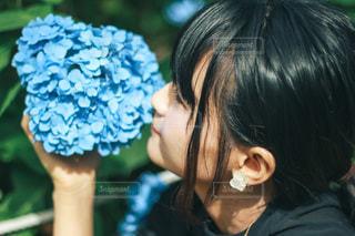 紫陽花と黒髪の女性の写真・画像素材[3377357]