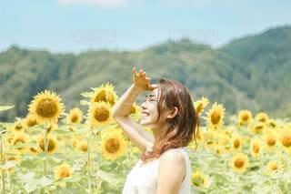 向日葵と笑顔の女性の写真・画像素材[3495629]
