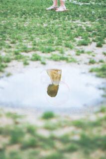 水たまりに映る女性の写真・画像素材[4464096]