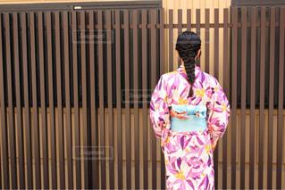 女性,10代,風景,京都,後ろ姿,女,女の子,人物,背中,着物,人,浴衣,後姿,編み込みヘア
