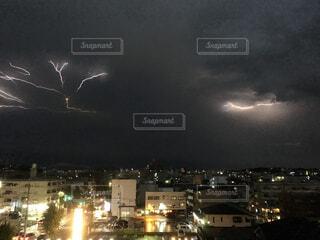 夜,夜空,屋外,暗い,雷,稲妻,カミナリ,雷雲,稲光,イナズマ,雷光