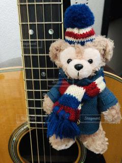 かわいい,コート,マフラー,ギター,ぬいぐるみ,毛糸の帽子,ベージュ,ダッフィ,インスタ映え,ミルクティー色,アコギアコースティックギター