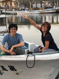 海,笑顔,漁船,じいちゃん,半袖