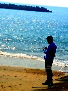 海,自撮り,ビーチ,青空,砂浜,波,海岸,人物,セルフィー,人