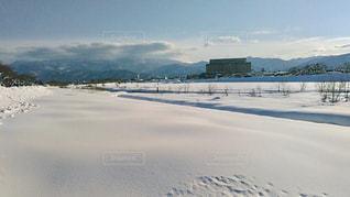 水域雪の河川敷の写真・画像素材[2816157]