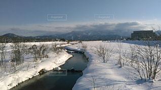 雪に覆われた野原の眺めの写真・画像素材[2816161]