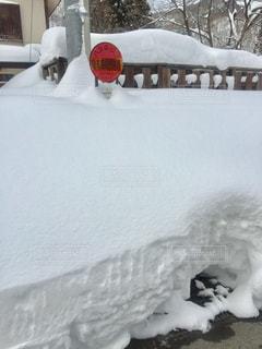 雪に埋まったバス停の写真・画像素材[2821263]