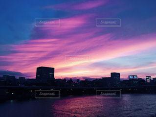 風景,空,太陽,夕暮れ,川,光