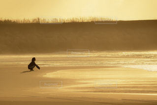 夕焼けを背景にビーチを歩く人々の写真・画像素材[2329736]
