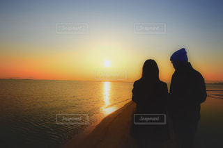 恋人,空,屋外,湖,太陽,光,日の出