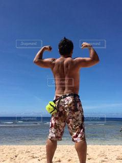 浜辺でトレーニングの写真・画像素材[2331649]
