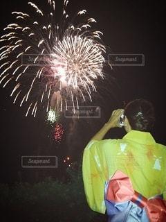空の花火の写真・画像素材[3518580]