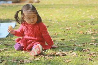 芝生に座っている小さな女の子の写真・画像素材[2190013]