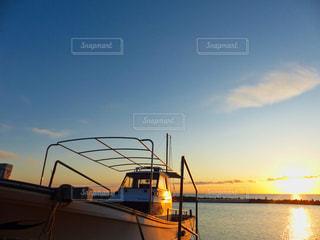 空,夕日,太陽,ボート,夕暮れ,船,光