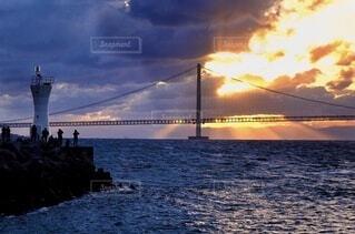 海,空,太陽,朝日,雲,旅行,正月,お正月,日の出,明石海峡大橋,新年,初日の出