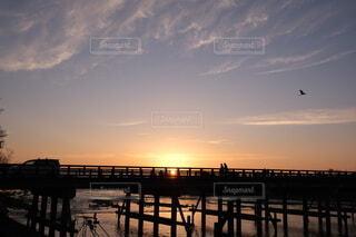 風景,空,屋外,京都,太陽,朝日,川,旅行,正月,お正月,嵐山,渡月橋,日の出,新年,初日の出