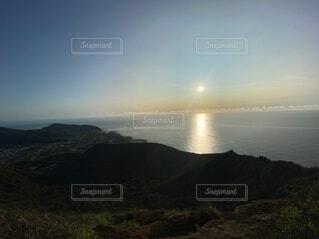 自然,海,空,朝日,山,トレッキング,ハワイ,日の出