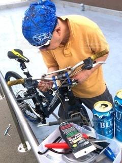 自転車のケーブル交換の写真・画像素材[3354318]