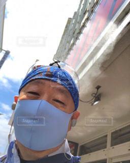 冷感マスクでご機嫌ちゃん♪の写真・画像素材[3525708]