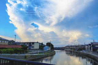 風景,空,建物,屋外,白,雲,青,水,川,水面,田舎,旅行,iphone,帰り道,のどか