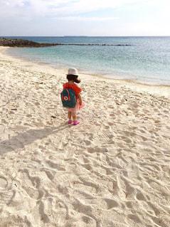 海,空,屋外,ピンク,かわいい,後ろ姿,砂浜,水平線,女の子,少女,人物,人,後姿,風,黄昏,リュック,3歳