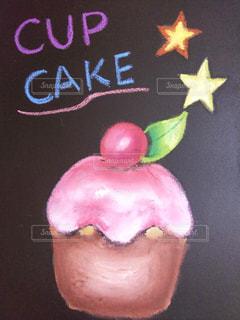ピンク,カップケーキ,黒板,チョーク,黒板アート
