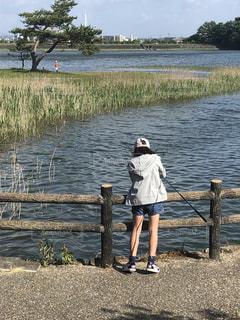 屋外,池,子供,釣り 魚