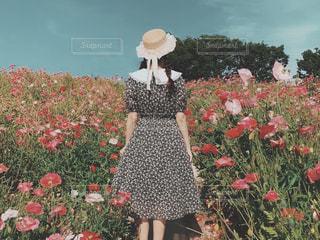 女性,20代,自然,空,公園,花,お花畑,花畑,屋外,ワンピース,後ろ姿,帽子,レトロ,人物,背中,麦わら帽子,人,後姿,クラシカル