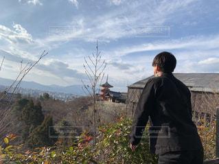 清水寺,屋外,京都,青空,後ろ姿,背中,後姿,男の子