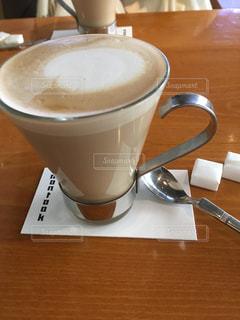 カフェ,コーヒー,屋内,スプーン,カップ,カフェラテ,ドリンク,砂糖,コースター,飲料