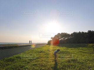 太陽の光・遊ぶ子ども・遠くの人影の写真・画像素材[2860899]