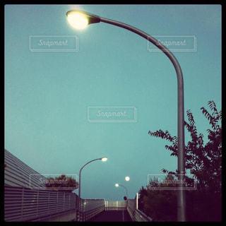 街灯のついた道の写真・画像素材[2993211]