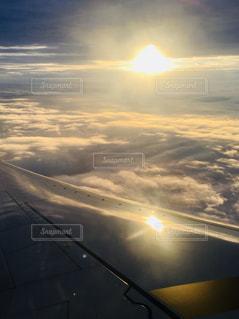 空,太陽,雲,飛行機,光,フライト