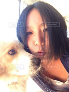 犬,キス,朝,びっくり