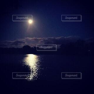 自然,風景,空,夜,屋外,湖,水面,月