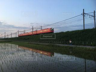 空,親子,電車,夕方,田んぼ