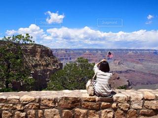 自然,風景,後ろ姿,世界遺産,アメリカ,岩,後姿,旅行,旅,星条旗,女子旅,冒険,グランドキャニオン,ラスベガス旅行