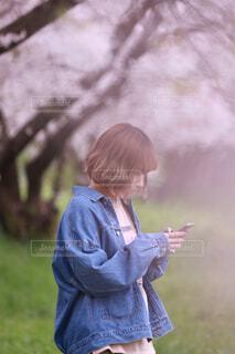 桜の木の下で待ち合わせの写真・画像素材[4231369]
