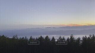 自然,風景,空,富士山,屋外,雲,夕焼け,霧,山,樹木,雲海,なつ