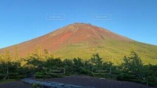 自然,風景,空,富士山,屋外,夕焼け,山,大地,新緑,雲海,高原,なつ,草木,赤富士,山腹,タイムラプス