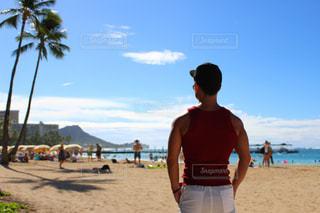 男性,風景,夏,後ろ姿,人物,背中,人,後姿,旅行,ハワイ,夏休み,ダイエット,筋トレ,マッチョ