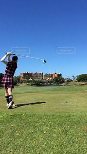 女性,自然,夏,スポーツ,後ろ姿,人物,背中,人,後姿,旅行,ゴルフ,ハワイ,コオリナ,コオリナゴルフ