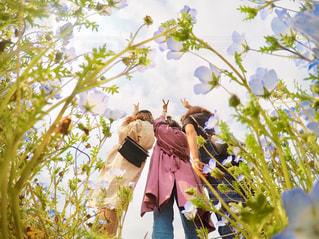 女性,風景,空,花,夏,ロングヘア,カメラ女子,屋外,後ろ姿,景色,人物,人,デザイン,インスタグラム,半袖,インスタ映え