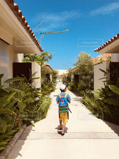 風景,夏,屋外,後ろ姿,沖縄,家,樹木,後姿,旅行,男の子,summer,サマー,思い出,派手,休暇,ヴィラ
